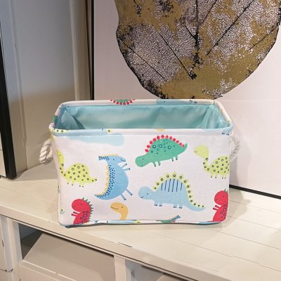 Folding Embroidery Cartoon Pattern Canvas Storage Basket for Toys Sundries Clothes Towels white