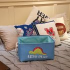 Folding Embroidery Cartoon Pattern Canvas Storage Basket for Toys Sundries Clothes Towels