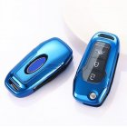 Folding Remote Key Case Shell for Ford Focus Kuga Ecosport MONDEO 3 Button Foldable Key Cover Blue