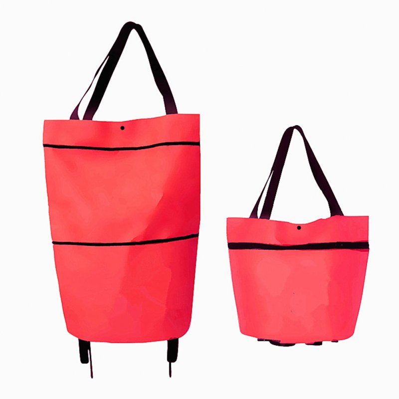 Folding Shopping Bags Trolley Grocery Shopper Lightweight Foldable with wheels red
