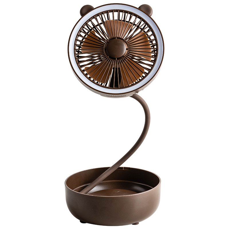 Folding USB Rechargeable Portable Fan Small Desktop Fans for Room Brown_140*140*70mm