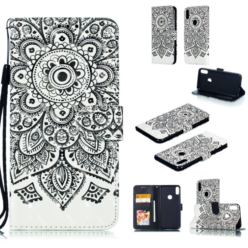 For ASUS ZENFONE MAX Pro M1/ZB601KL/ZB602KL 3D Coloured Painted PU Magnetic Clasp Phone Case with Card Slots Bracket Lanyard Mandala