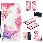 For ASUS ZENFONE MAX Pro M1/ZB601KL/ZB602KL 3D Coloured Painted PU Magnetic Clasp Phone Case with Card Slots Bracket Lanyard Butterfly