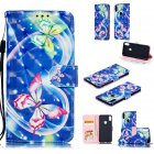 For ASUS ZENFONE MAX Pro M1/ZB601KL/ZB602KL 3D Coloured Painted PU Magnetic Clasp Phone Case with Card Slots Bracket Lanyard Love butterfly