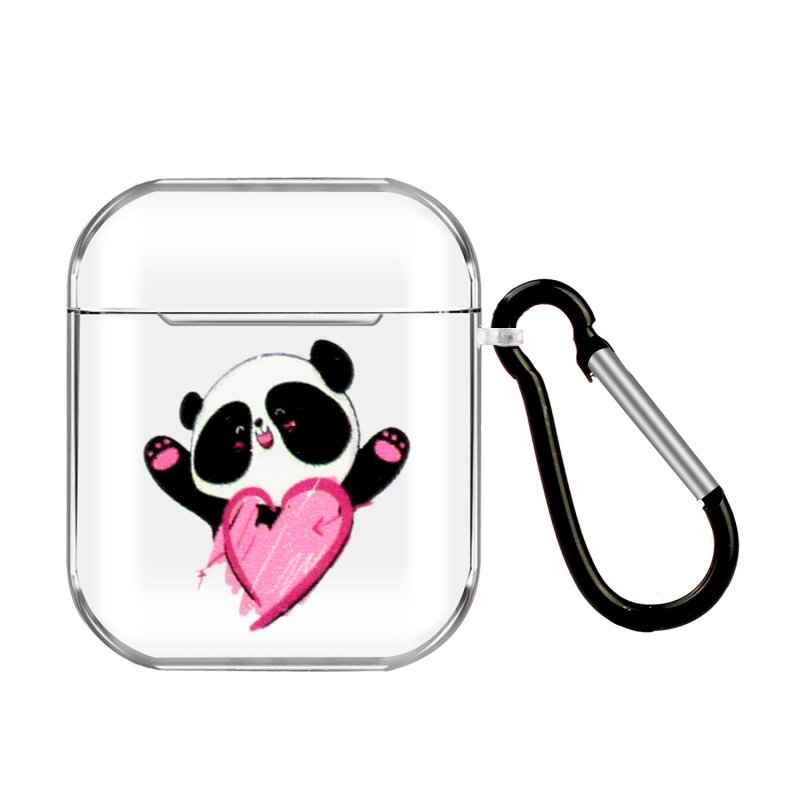For AirPods 1/2 Headphones Case Portable Clear Cute Earphone Shell with Metal Hook Overall Protection 7 Love Pandas