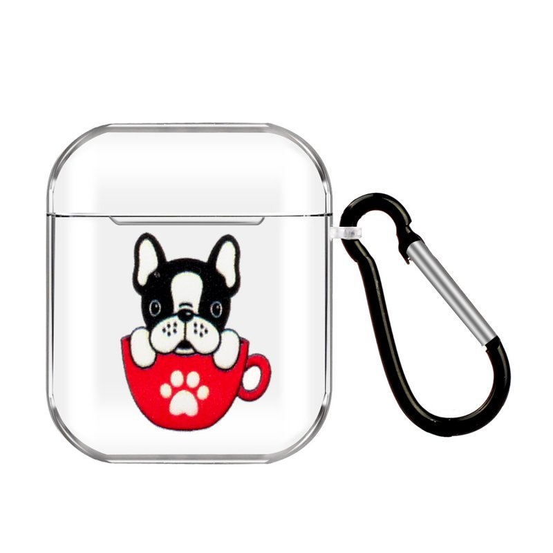 For AirPods 1/2 Headphones Case Portable Clear Cute Earphone Shell with Metal Hook Overall Protection 6 teacup cat