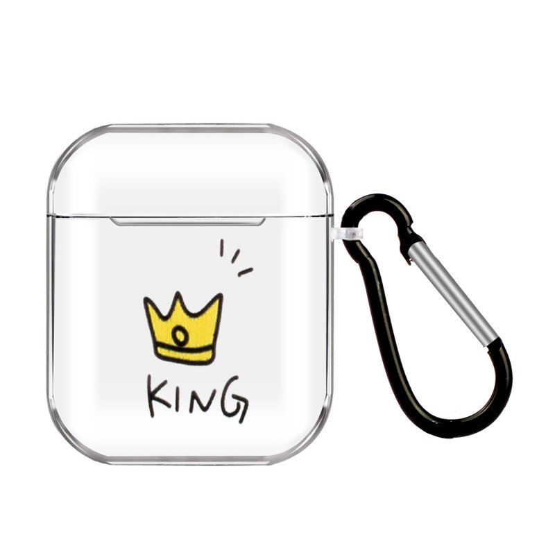 For AirPods 1/2 Headphones Case Full Protection Clear Cute Earphone Shell with Metal Hook 11 crowns
