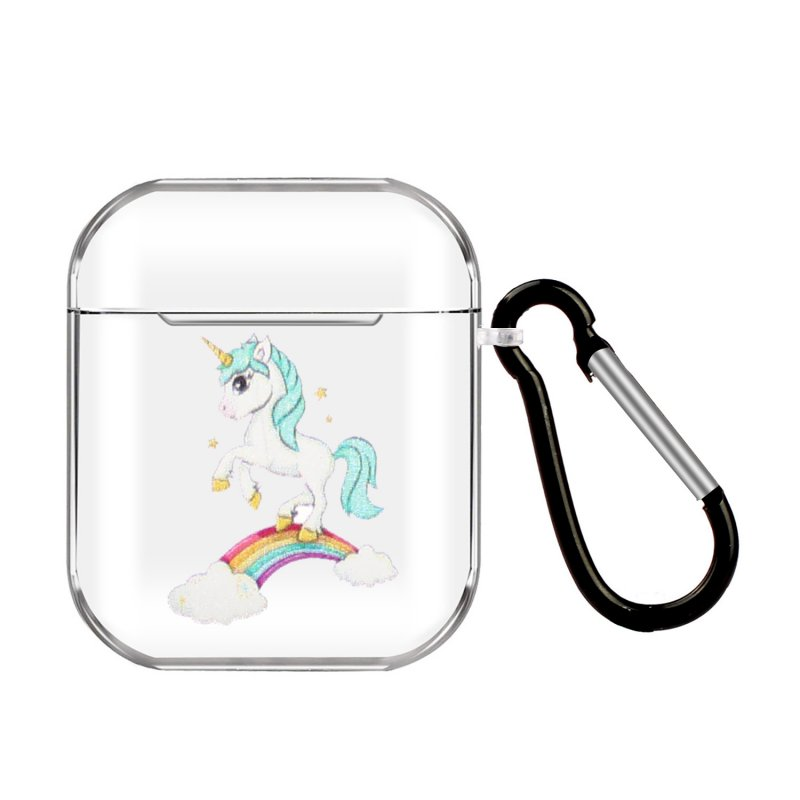 For AirPods 1/2 Headphones Case Cartoon Transparent Earphone Shell with Metal Hook Full Protection 5 rainbow horses
