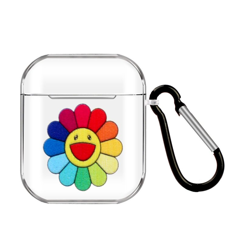 For AirPods 1/2 Headphones Case Transparent Earphone Shell with Metal Hook Overall Protection Cover 17 Sun Flower