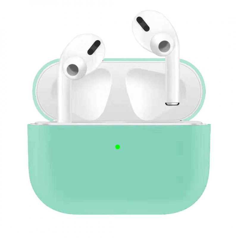 For Airpods Pro Silicone Earphone Case For Airpods Pro Shockproof Cases For Apple Bluetooth Headset Protective Cover Mint green