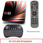 For Android Tv  Box Android 10.0 4k 4gb 32gb 64gb Media Player 3d Video Smart Tv Box 4+32G_British plug+I8 Keyboard