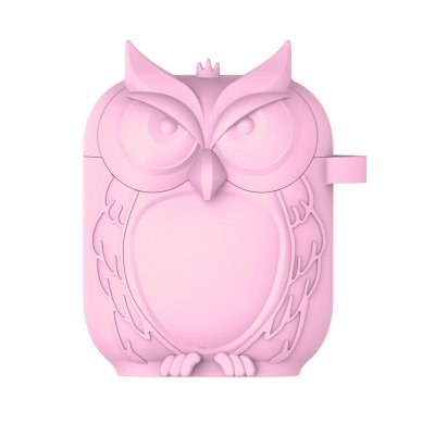 Owl Shape Airpods Case Cover - Pink