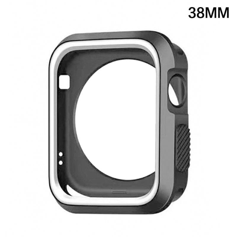 For Apple Watch iWatch Series 1 2 3 Silicone Protector Cover Case Screen 38&42mm Black and white_38mm