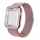 For Apple watch4/3/2/1 Milanese Full Cover Electroplating Shell Iwatch Band Watchband Set Rose red 42mm