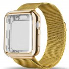 For Apple watch4/3/2/1 Milanese Full Cover Electroplating Shell Iwatch Band Watchband Set luxury gold 38mm