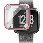 For Fitbit Versa Silicone Ultra Thin TPU Shell Case Screen Protector Frame Cover Rose gold