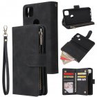 For Google Pixel 4A  Leather Mobile Phone Cover with Cards Slot Zipper Purse Phone Bracket 1 black
