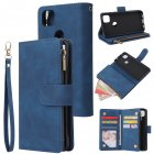 For Google Pixel 4A  Leather Mobile Phone Cover with Cards Slot Zipper Purse Phone Bracket 2 blue