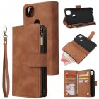 For Google Pixel 4A  Leather Mobile Phone Cover with Cards Slot Zipper Purse Phone Bracket 4 brown