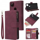 For Google Pixel 4A  Leather Mobile Phone Cover with Cards Slot Zipper Purse Phone Bracket 5 wine red