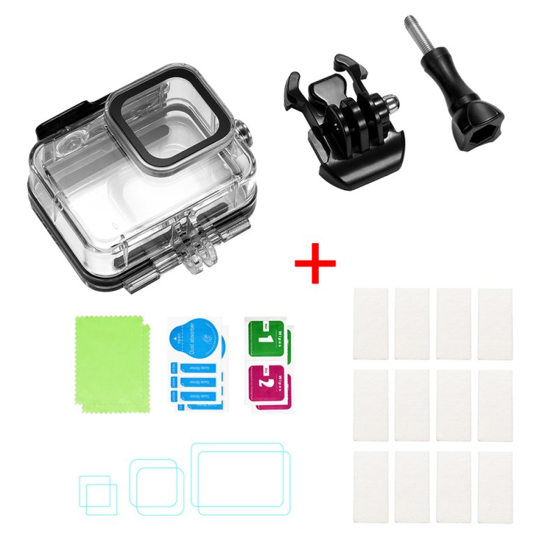 For Gopro Hero 8 Camero Screen Device Waterproof Case Screen Tempered Film Anti-fog Film Overall Protection Waterproof shell + anti-fog film + tempered film