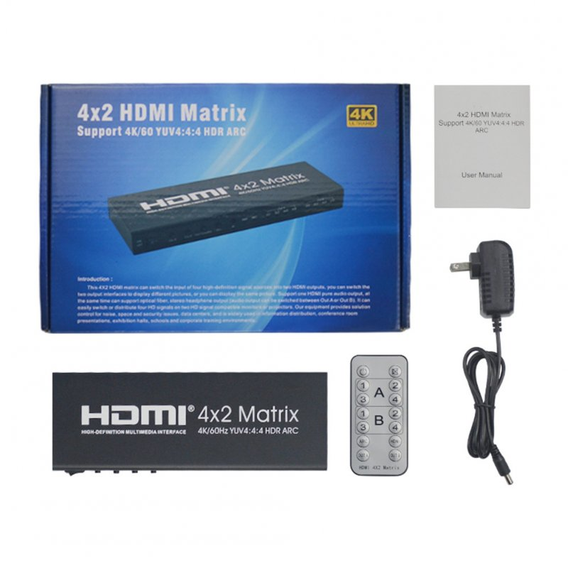For HDMI 2.0 4X2 Array Support 4K/60 YUV4:4:4 HDR ARC Infrared Remote Control Without Battery black