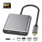 For HDMI Type C Adapter 4K C To Dual HDMI USB 3.0 Cable Charge Port Converter for MacBook for Samsung Dex Galaxy S10 / S9 black