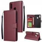 For HUAWEI Enjoy 9/ Y7 2019 /Y7 PRO 2019/Y7 PRIME 2019 Flip-type Leather Protective Phone Case with 3 Card Position Buckle Design Phone Cover  Red wine