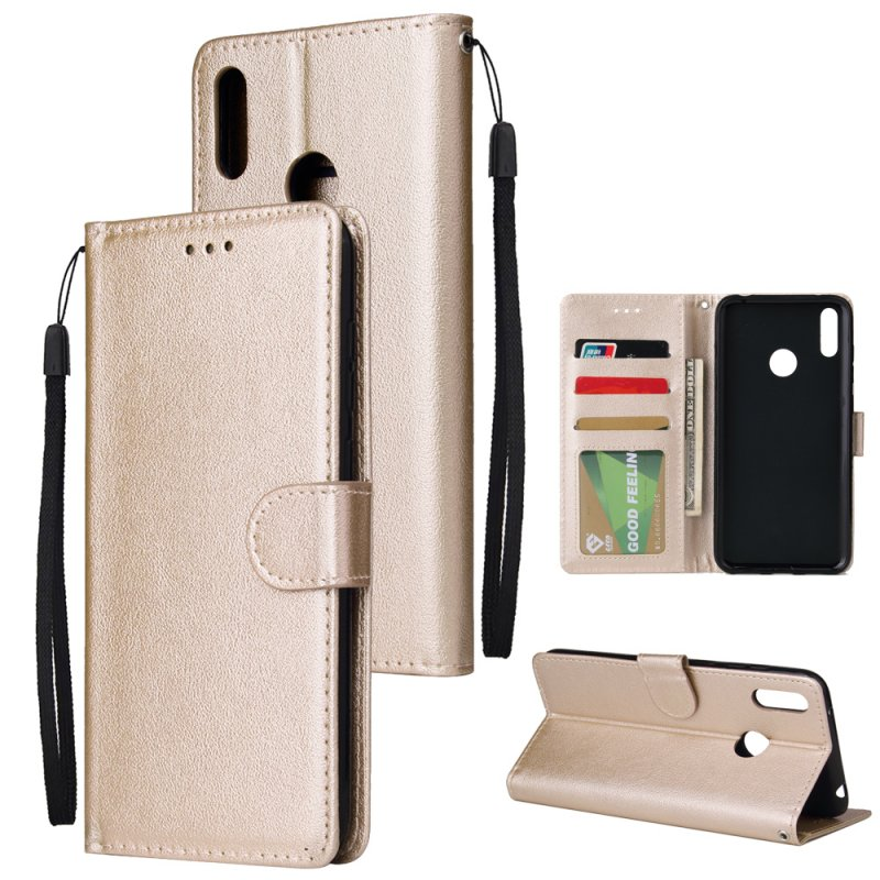 For HUAWEI Enjoy 9/ Y7 2019 /Y7 PRO 2019/Y7 PRIME 2019 Flip-type Leather Protective Phone Case with 3 Card Position Buckle Design Phone Cover  Gold