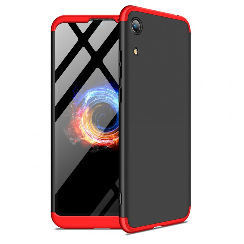 For HUAWEI HONOR 8A Ultra Slim PC Back Cover Non-slip Shockproof 360 Degree Full Protective Case Red black red