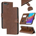 For HUAWEI Honor 7C-Enjoy 8-Y7 2018-Y7 Pro 2018 Denim Pattern Solid Color Flip Wallet PU Leather Protective Phone Case with Buckle & Bracket brown