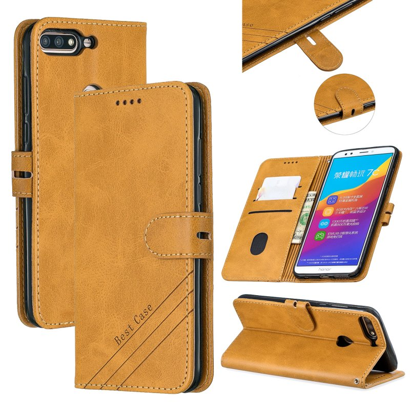 For HUAWEI Honor 7C-Enjoy 8-Y7 2018-Y7 Pro 2018 Denim Pattern Solid Color Flip Wallet PU Leather Protective Phone Case with Buckle & Bracket yellow
