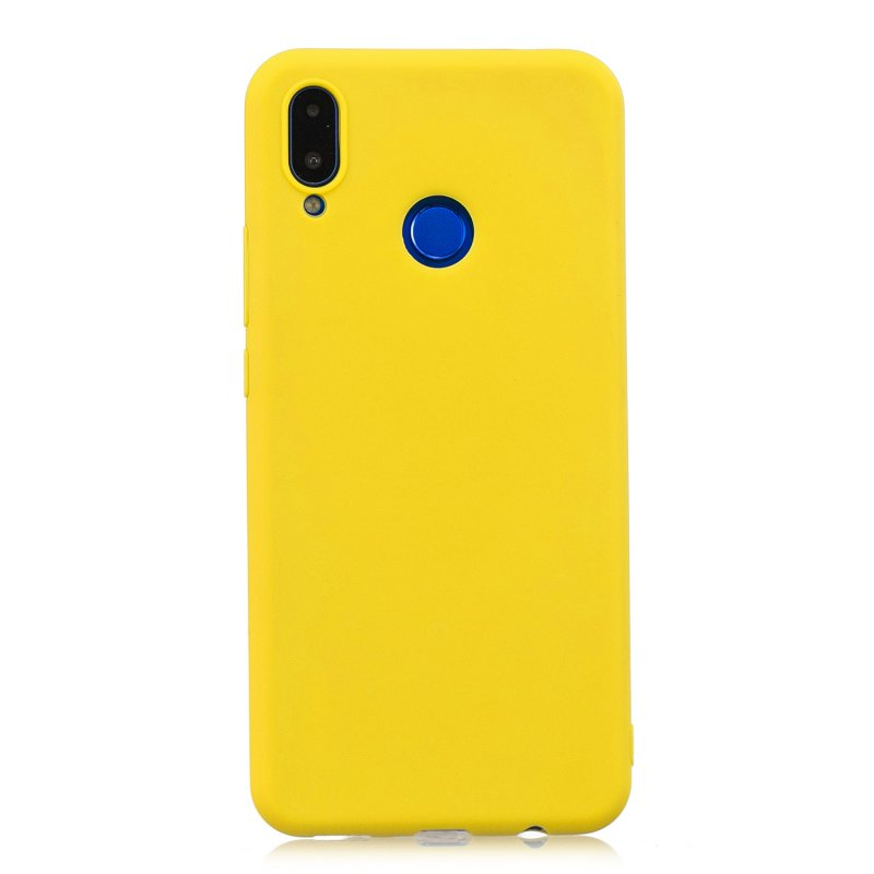 For HUAWEI Honor 8C Lovely Candy Color Matte TPU Anti-scratch Non-slip Protective Cover Back Case yellow