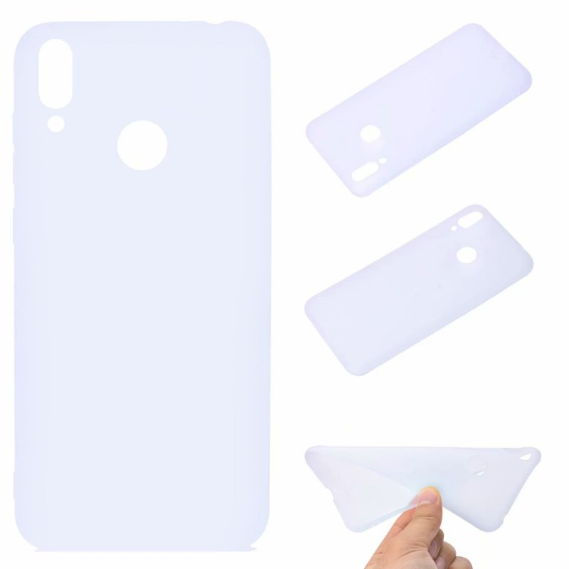 For HUAWEI Honor 8C Lovely Candy Color Matte TPU Anti-scratch Non-slip Protective Cover Back Case white