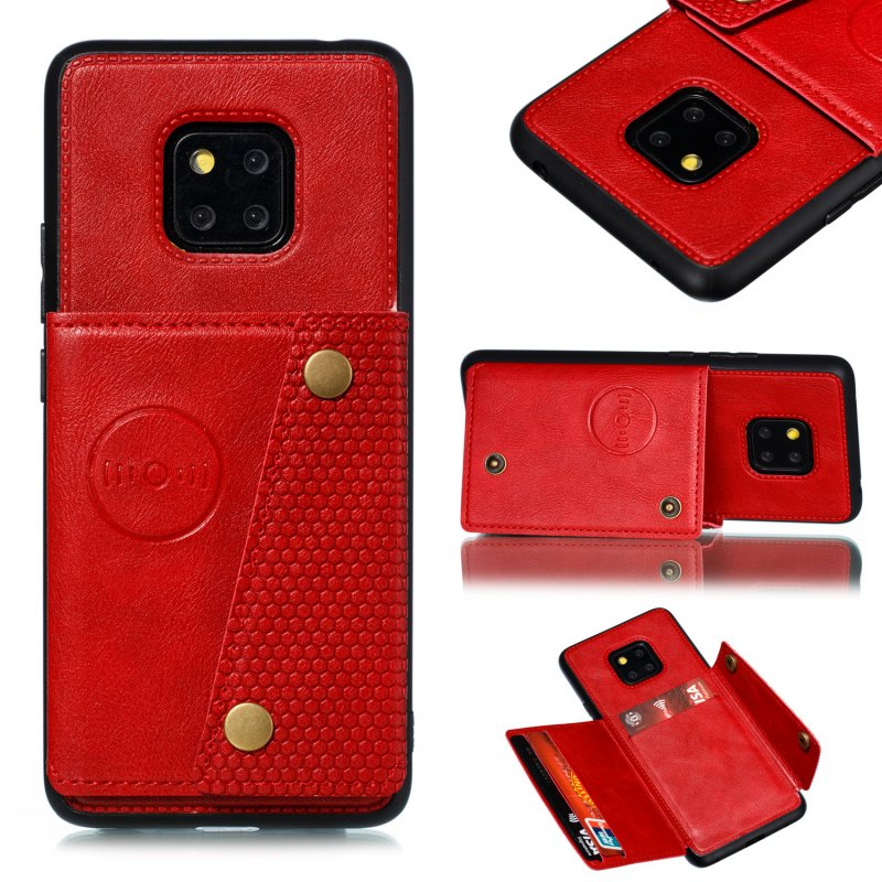 For HUAWEI MATE 20 PRO Double Buckle Non-slip Shockproof Cell Phone Case with Card Slot Bracket red