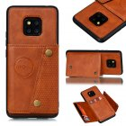 For HUAWEI MATE 20 PRO Double Buckle Non-slip Shockproof Cell Phone Case with Card Slot Bracket Light Brown