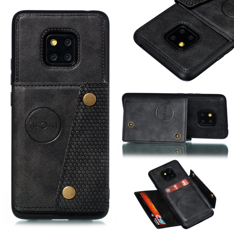 For HUAWEI MATE 20 PRO Double Buckle Non-slip Shockproof Cell Phone Case with Card Slot Bracket black