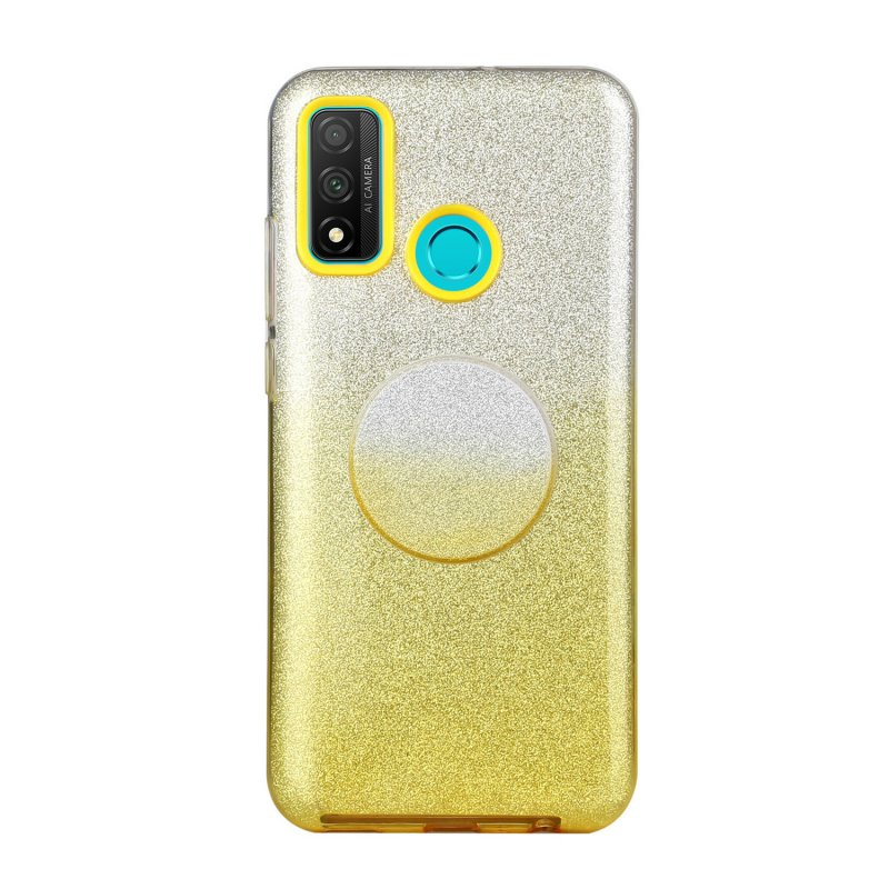 For HUAWEI Mate 30/Nova 5I pro/Mate 30 Pro/PSmart /Y5P/Y6P 2020 Phone Case Gradient Color Glitter Powder Phone Cover with Airbag Bracket yellow
