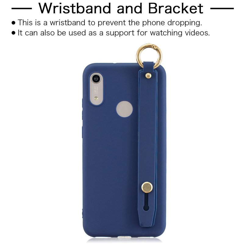 For HUAWEI NOVA 3i Simple Solid Color Chic Wrist Rope Matte TPU Anti-scratch Non-slip Protective Cover Back Case 7 royal blue