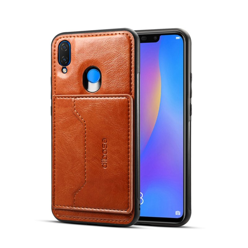 For HUAWEI Nova 3i 2 in 1 Retro PU Leather Wallet Stand Non-slip Shockproof Cell Phone Case brown
