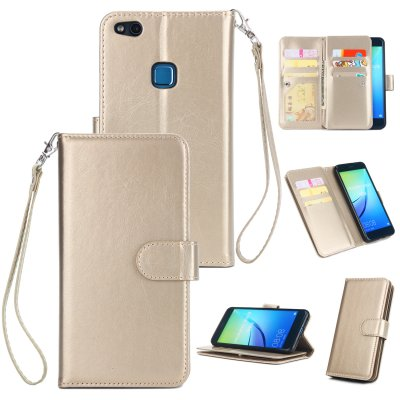 For HUAWEI P10 Lite Leather Protective Phone Case with 9 Card Position Buckle Bracket Lanyard gold