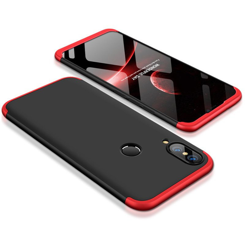 For HUAWEI P20 Lite/Nova 3E 3 in 1 Fashion Ultra Slim Full Protective Back Cover  Red black red