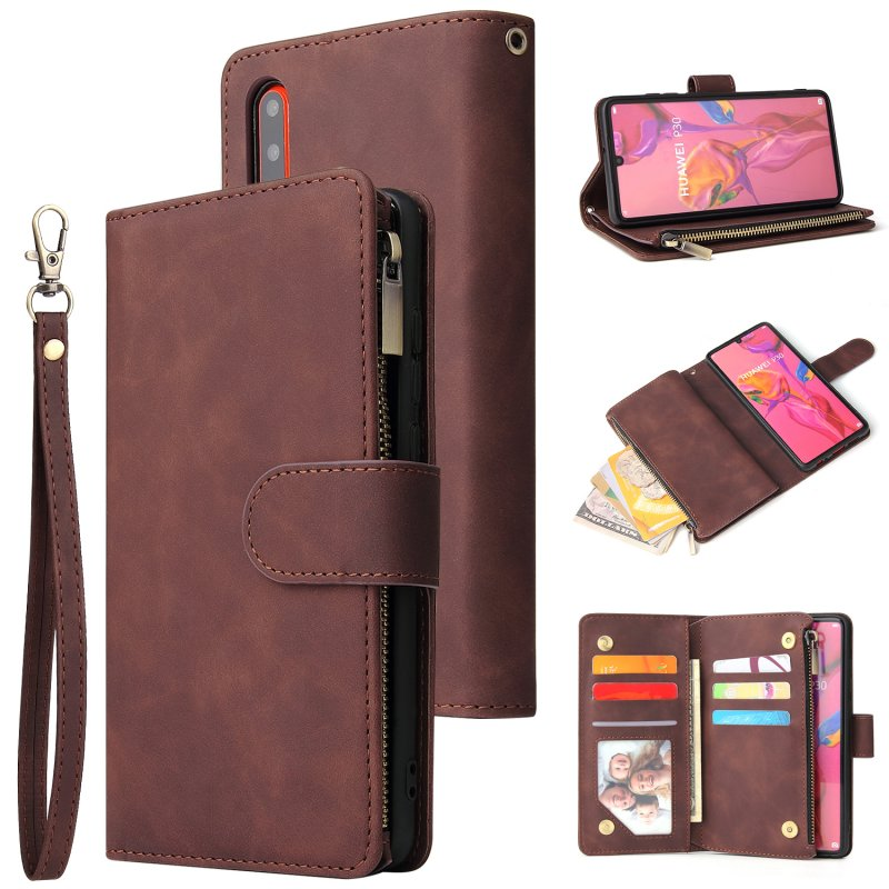 For HUAWEI P30 HUAWEI P30 lite HUAWEI P30 pro Multi-card Bracket Coin Wallet Zipper Mobile Phone PU Leather Phone Case  3 brown