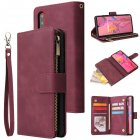 For HUAWEI P30 HUAWEI P30 lite HUAWEI P30 pro Multi card Bracket Coin Wallet Zipper Mobile Phone PU Leather Phone Case  5 wine red