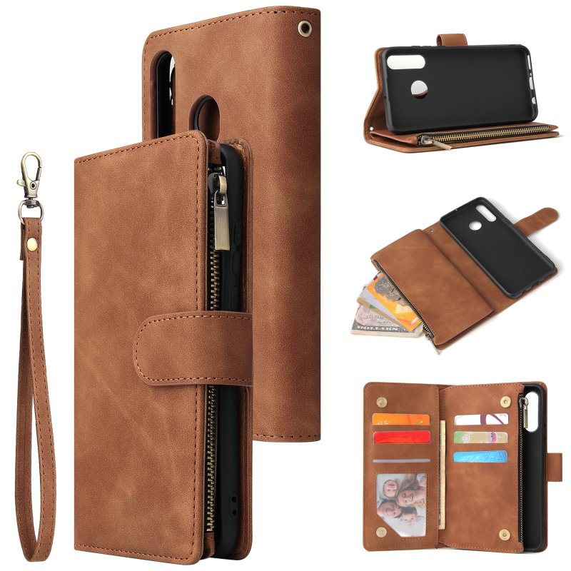 For HUAWEI P30 HUAWEI P30 lite HUAWEI P30 pro Multi-card Bracket Coin Wallet Zipper Mobile Phone PU Leather Phone Case  4 brown