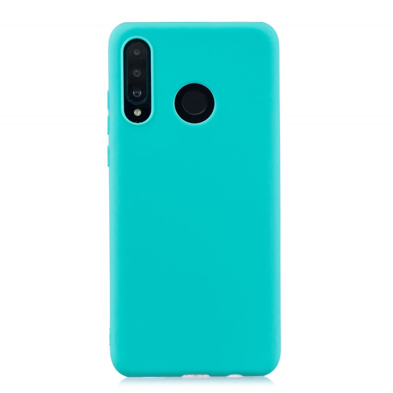 For HUAWEI P30 LITE/NOVA 4E Lovely Candy Color Matte TPU Anti-scratch Non-slip Protective Cover Back Case Light blue