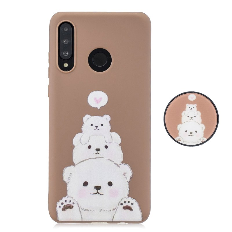 For HUAWEI P30 lite Cute Cartoon Phone Case Ultra Thin Lightweight Soft TPU Phone Case Pure Color Phone Cover with Matching Pattern Adjustable Bracket 3