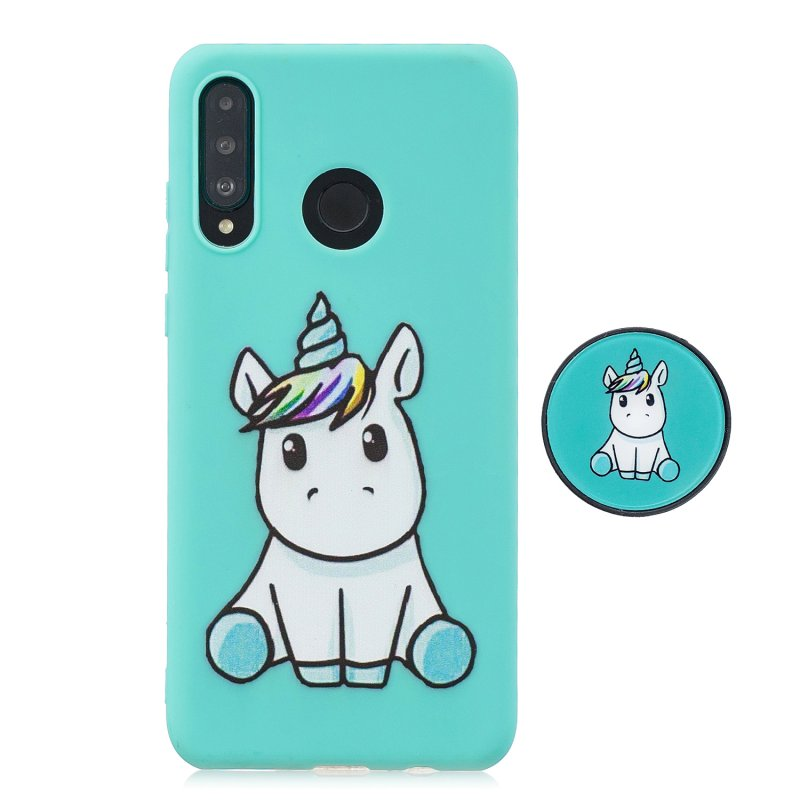 For HUAWEI P30 lite Cute Cartoon Phone Case Ultra Thin Lightweight Soft TPU Phone Case Pure Color Phone Cover with Matching Pattern Adjustable Bracket 5