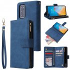 For HUAWEI P40 Case Smartphone Shell Wallet Design Zipper Closure Overall Protection Cellphone Cover  2 blue