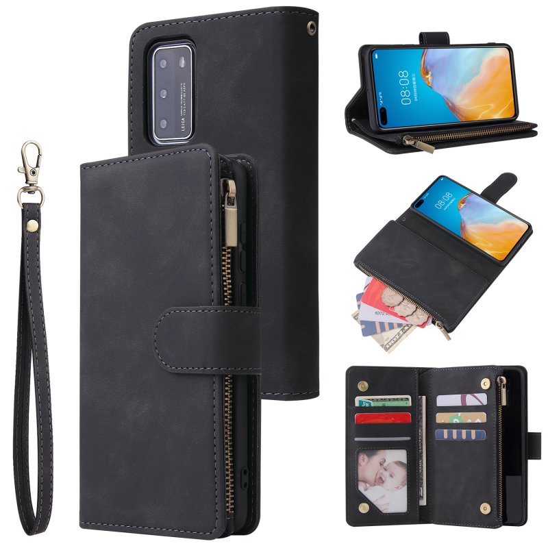 For HUAWEI P40 Case Smartphone Shell Wallet Design Zipper Closure Overall Protection Cellphone Cover  1 black